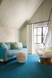 light blue sofa with blue diamond pattern rug contemporary den