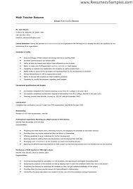 Sample Resume Teachers by Resume Sample For Maths Teacher Templates