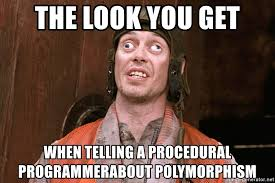 Confused Look Meme - the look you get when telling a procedural programmerabout