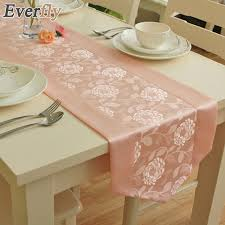pink rosette table runner europe pink red rose luxury polyester jacquard fabric waterproof