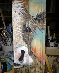 painting artwork on wood recycled reclaimed pallet wood cow painting artist liz saludez