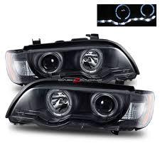 bmw x5 headlights 01 03 bmw x5 led halo projector headlights black x5 x6