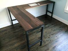 l shaped desk reclaimed wood desk pipe legs by guicewoodworks