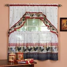 french country rooster window cafe curtain set choose 2 sizes cafe