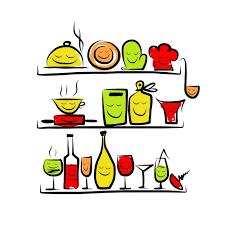 dessin ustensile de cuisine papier peint ustensiles de cuisine caractères sur les tablettes