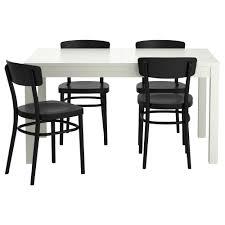 idolf bjursta table and 4 chairs white black 140 cm ikea