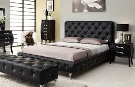 Black Tufted Bed Frame Bedroom At Home Usa Black Tufted Leatherette