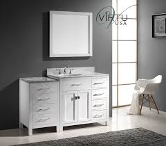 white wooden bathroom vanity having glossy top and sink with short
