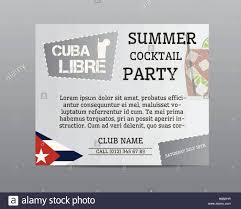summer cocktail party poster layout template with cuba flag and