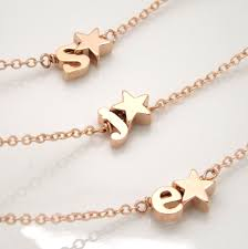 Monogram Bracelet Silver Rose Gold Initial And Star Bracelet Silver Rose Gold Or Gold
