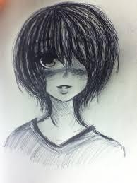 drawing of bob hair drawn girl short hair pencil and in color drawn girl short hair