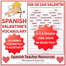 valentine u0027s day spanish worksheet u2013 verb noun or adjective