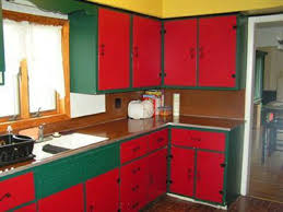 Red Floor Paint Cool Cabinets For Kitchen Red Color Design Painting And Green Wall