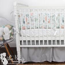 peach u0026 green little llama baby boy crib bedding