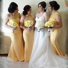 yellow dress for wedding light yellow mermaid bridesmaid dresses 2018 lace top one shoulder