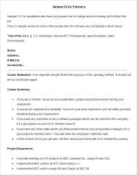 examples of resume summary sample bpo cv for fresher template