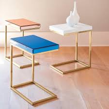C Shaped End Table Vivienne C Table Tabletop Stainless Steel And Steel