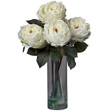 Silk Flowers In Vase Arrangements Amazon Com Nearly Natural 1247 Pk Fancy Rose With Cylinder Vase