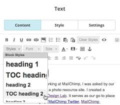 table of contents generator add a table of contents to a caign mailchimp