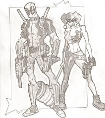deadpool and harley quinn by stipher30 on deviantart