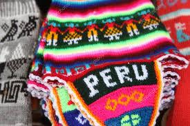 peruvian knitted hat with traditional pattern peru stock photo