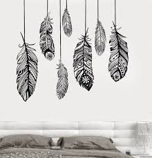 pochoir mural chambre ethniques amour plume romantique chambre wall decal sticker