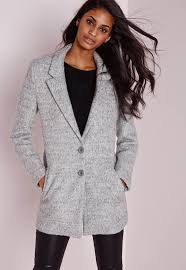 short wool look coat grey missguided
