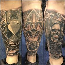 skull arm sleeve award winning leg sleeve black and grey hourglass skull tattoo