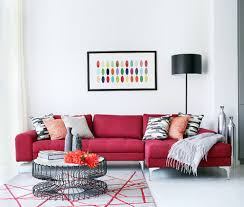 vibrant trend 25 colorful sofas to rejuvenate your living room view in gallery exquisite dark red sofa brings vivaciousness to the white living room from alex maguire
