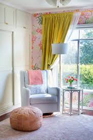 Yellow Nursery Curtains by A Floral Glam Nursery Reveal Emily Henderson