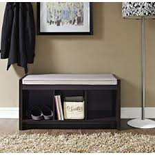 Black Wooden Bench Indoor Storage Benches
