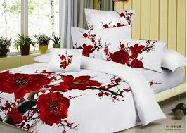 100 Cotton Queen Comforter Sets 100 Cotton Red Romantic Plum Blossom Flower Floral Pattern