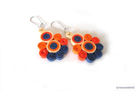 paper ear rings orange blue dangle quilling paper earrings summer diy paper