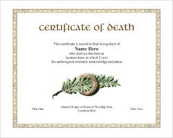 death certificate template multipurpose certificate template