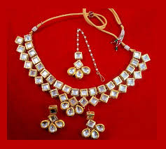 bridal earring necklace sets images Nc93 bridal kundan necklace set with earrings and maang tikka for jpg
