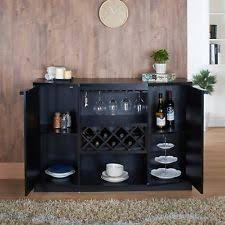 Black Liquor Cabinet Wooden Home Bar Tables With Storage Ebay