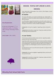 wps sixth form choices 2014 15 simplebooklet com design textile art linear a level edexcel career opportunities textile designer artist teacher