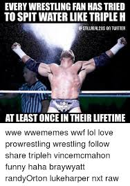 Spitting Water Meme - everywrestling fan has tried to spit water like triple h