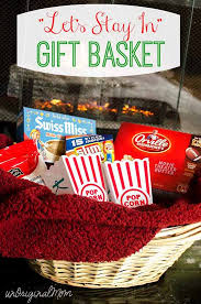 popcorn gift baskets let s stay in gift basket with personalized popcorn tubs
