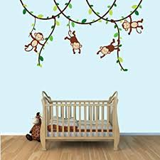 Wall Decor Stickers For Nursery Green And Brown Monkey Wall Decal For Baby Nursery Or