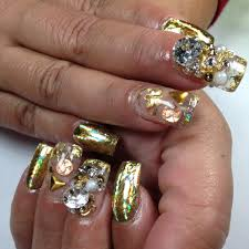 gold foil acrylic nails youtube