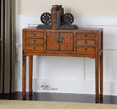 Hallway Table With Drawers Mellyn Solid Elm Wood Narrow Asian Console Table Zin Home