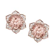 gold earrings studs morganite earrings flower earring studs gold stud earrings