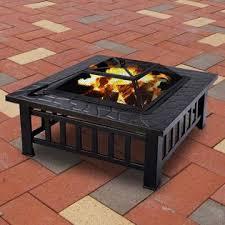 Metal Firepit Goplus Hw46459 Outdoor 32 Metal Firepit Patio Garden Square Stove
