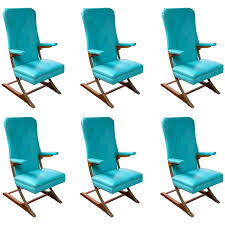 Spring Chairs Patio Furniture Set Of Six Blue Mid Century Mckay Spring Rocker Rocking Chair At