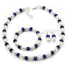 blue pearl necklace images White royal blue imitation pearl bead with diamante jpg
