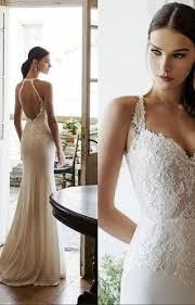 simple lace wedding dresses keyhole back bateau neck sleeveless simple slim lace wedding dress