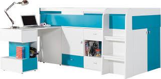 lit surélevé avec bureau lit mezzanine surélevé combiné avec bureau et commode mobby 200x90 cm