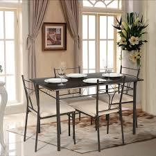 Dining Kitchen Furniture Ikayaa 5pcs Modern Metal Frame Dining Kitchen Table Chairs Set For