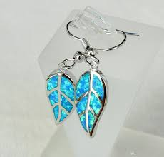 green opal earrings 2018 delightful leaf design blue fire opal earrings jewelry for